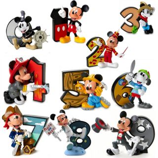 Disney Mickey Mouse Number 0 to 9 Age Figurine Collection Birthday Cake Topper