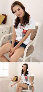 Fashion Womens Short Sleeve Cartoon Cat Tee T Shirt Girls Casual Loose Tops