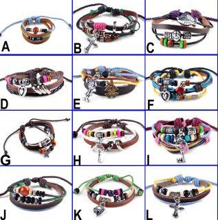 New Men Women Braid Leather Cord Bead Cross Heart Bracelet Wristband Hemp Surfer