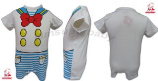 3 12M Baby Boy Cartoon Character Sailor Style Tuxedo Bodysuit Outfit Romper