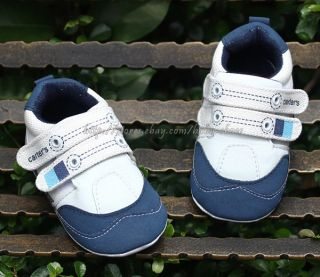 Baby Boy White Navy Canvas Shoes Soft Sole Sneakers Size 3 6 6 9 9 12 Months
