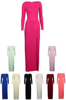 New Womens Jersey Ladies Long Sleeve Side Slit Maxi Party Summer Dress Size 8 14