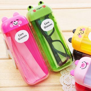 Lovely Cartoon Happy Animal Eye Glasses Case Hard Box Container