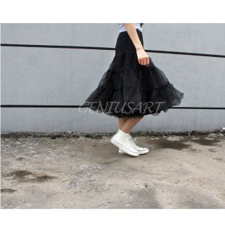 Women 2 Layer Swing Hoop Underskirt Rockabilly Dance Petticoat Knee Length Black