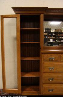 Arts Crafts Mission Oak 1910 Bookcase China Cabinet Sideboard
