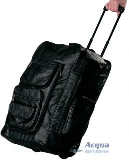 Leather Backpack Rolling Briefcase Cart w Wheels Portable Office on Wheels