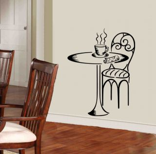 Coffee Time Table and Chair Vinyl Wall Decals