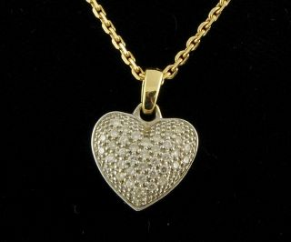 FBM 18K Yellow White Gold Diamond Pave Filigree Heart Pendant Cable Necklace