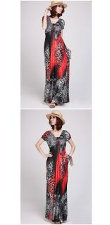 Sexy Womens Animal Leopard Print V Neck Cocktail Party Evening Maxi Long Dress