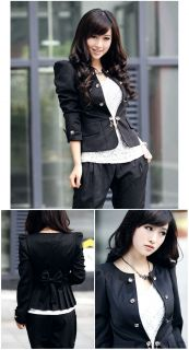 Womens Slim Double Breasted Bowknot Outerwear Suit Blazer Coat Short Jacket Top