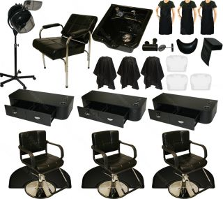 3 Styling Station Hydraulic Barber Chair Shampoo Bowl Hair Dryer Salon Equipment