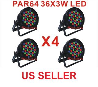 Lot DJ Par Can 36X3W LED Lights RGB Par 64 108Watt DMX Stage Party Show 4 Pcs