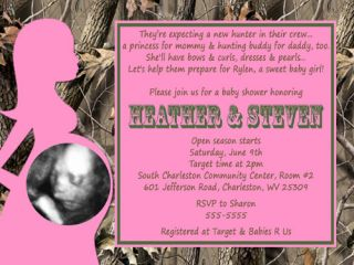 Realtree Real Tree Camo Camouflage Hot Pink Girl Baby Shower Invitation Supplies