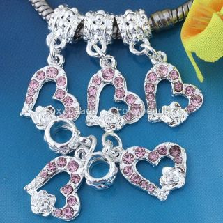 5 Pink Crystal Heart Rose Silver Plated European Beads