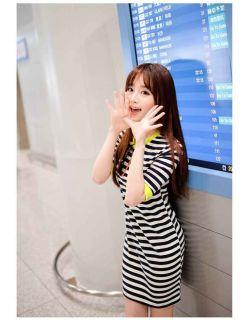 New Ladies Womens Crew Neck Short Sleeve Stripe Stripes Slim Fit Bodycon Dress