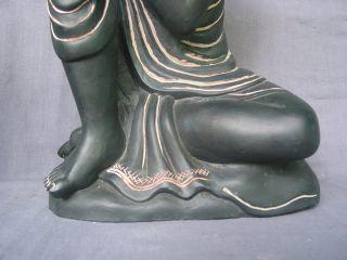 Serene Sleeping Buddha Stone Sculpture Yoga Decor Black Statue 12 Inch