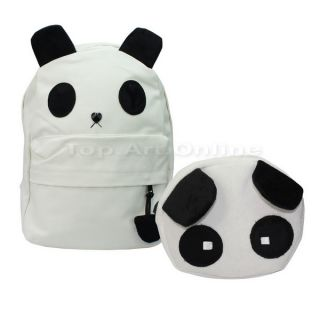 2 Pcs Women Girl Cute Cartoon Bear Panda Canvas Backpack Shoulder School Bags