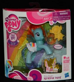 My Little Pony G4 FIM Hub Shine Bright Rainbow Dash Poseable w Light Up Wings