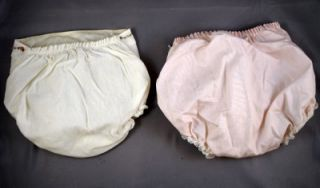 2 Pair Vintage Plastic Rubber Baby Pants Diaper Cover Pink White Doll Clothes