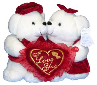 "Teddy Bears Valentine ""Love U"" Couple Pair Musical Stuffed Animal Plush New"