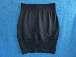 Vanity Fair Shiny Black Lace Control Mini Half Slip Shaper Womens s Mint