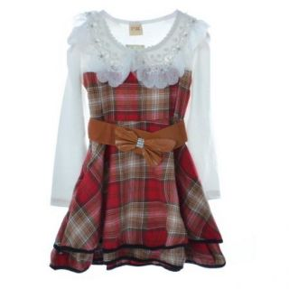 Girls Kids Pageant Lace Pearl Long Sleeve Plaid Dress Belt 4 8Y Wedding Clothing