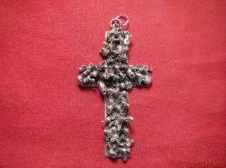 Vtg Native American Beaded Sterling Cross Pendant