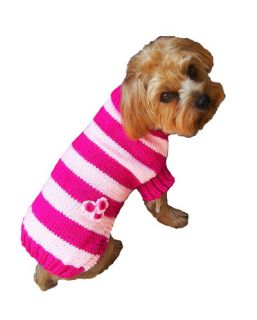 Dog Clothes Rugby Striped Sweater Pink XXS thru XL Chihuahua Yorkie Pet Apparel