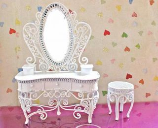 Dollhouse Miniature White Wire Vanity Chair Furniture B