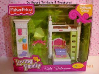 """New Fisher Price Loving Family Dollhouse 2012 Kid""""s Bedroom Set in Stock"""