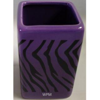 Ceramic Bath Accessory Set 4P Black Purple Zebra Animal Print Bathroom Newdesin