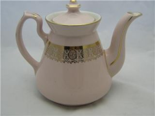 Hall 5 Cup Philadelphia Pink Teapot Gold Filigree 066X