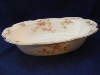 "Vintage Haviland China Scalloped 10"" Oval Serving Bowl Pink Roses Gold Trim"
