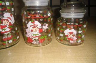 Strawberry Shortcake Vintage Lot Glass Canister Jar Pitcher Juice Decanters RARE