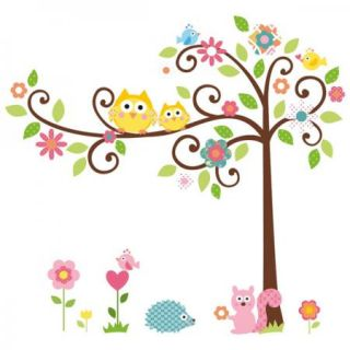 DIY Lovely Owls Tree Vine Flower Wall Sticker Decor Decal Arty for Nursery Kids