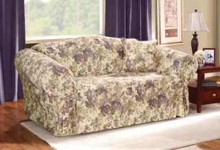 Surefit Basics One Piece Slipcover Sofa Couch Chloe Plum Floral New Returns
