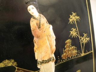 Antique Chinese Black Gold Lacquer Carved Stone Geisha Ladies Wall Plaque Panel