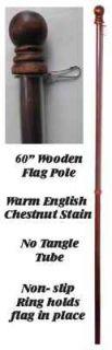 English Chestnut Stain Wooden Flag Pole Garden Yard Art