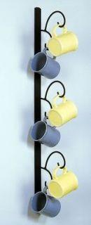 "Vertical Wall Mount 6 Cup Mug Rack Holder Display Black Metal 34"" Tall"