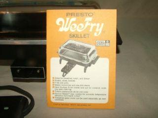 """Vintage Presto Electric Skillet Wee Fry Weefry 10"""" x 7"""" Mint"""