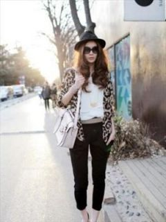Fashion Korean Sexy Girls Leopard Shirt Sleeve See Through Top Chiffon BLOUSET1