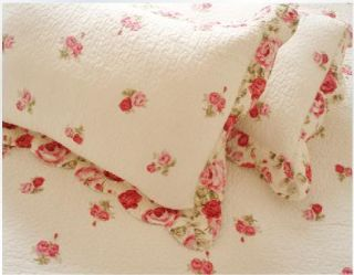 Shabby Chic Vintage Red Roses 4pc Queen Quilt Shams Set