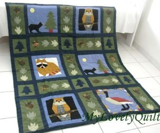 Country Christmas Applique Patchwork Hand Quilted Throw