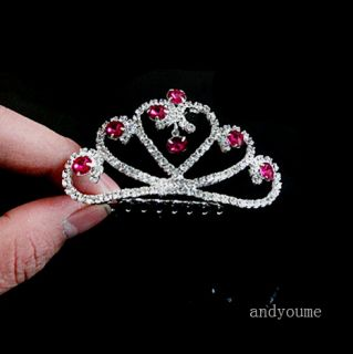 Mini Princess Wedding Party Crystal Headband Tiara Crown Hair Comb 0028D Hot