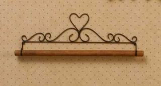 "Quilt Block or Towel Hanger Holder Black Metal Heart Top Wood Dowel Rod 23"" Long"