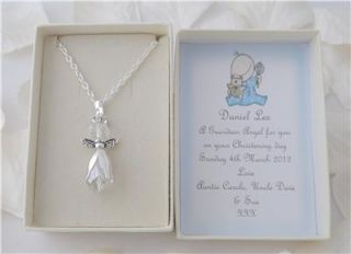 Guardian Angel Necklace in Personalised Box Christening Communion Babygift