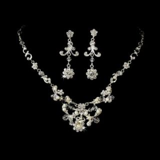 Freshwater Pearl Sparkling Austrian Crystal Bridal or Wedding Jewelry Set