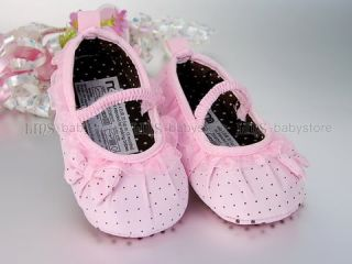 New Baby Toddler Girl Pink Dots Dress Shoes US 3 4