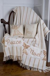 Noel Nostalgia Stencil Angel Gold Cream Twill Weave Woven Cotton Throw 50x60""