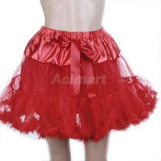 Lady Girls Satin Tutu Tulle Layer Skirt Petticoat Dress